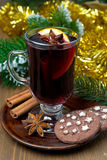 Christmas mulled wine with spices and chocolate cookies Stock Image