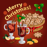 Christmas mulled wine with spices and cinnamon sticks Stock Photos