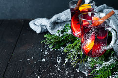 Christmas mulled wine with spices in glass, Royalty Free Stock Image