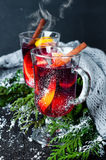 Christmas mulled wine with spices in glass, Stock Photos