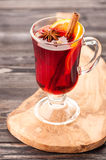 Christmas mulled wine with spices in glass Royalty Free Stock Images