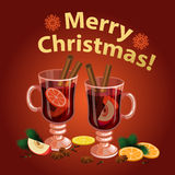 Christmas mulled wine with spices, orange slice, anise Royalty Free Stock Photo