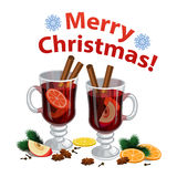 Christmas mulled wine with spices, orange slice, anise Royalty Free Stock Images