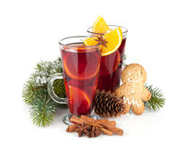 Christmas mulled wine with spices Stock Images