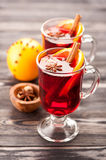 Christmas mulled wine with spices Stock Photo