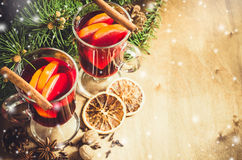 Christmas Mulled Wine. Vintage Toned and Drawn Snow Falling Effect. Stock Images
