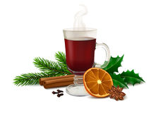 Christmas mulled wine on white background Stock Photography