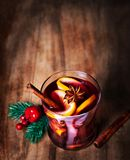 Christmas Mulled Wine for winter on wooden background. Hot wine Royalty Free Stock Images