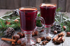 Christmas mulled wine. On a wooden background Royalty Free Stock Images