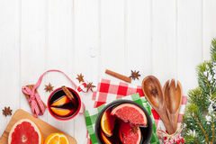Christmas mulled wine on wooden table Royalty Free Stock Photo