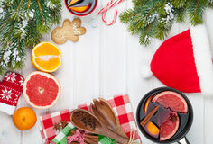 Christmas mulled wine on wooden table Royalty Free Stock Photos