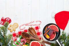 Christmas mulled wine on wooden table Stock Photography