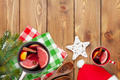 Christmas mulled wine on wooden table Stock Photos