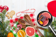 Christmas mulled wine on wooden table Royalty Free Stock Photography