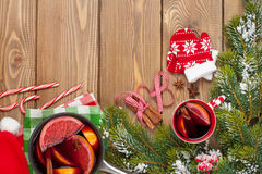 Christmas mulled wine on wooden table Stock Images