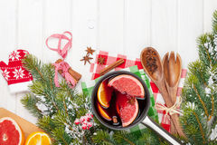 Christmas mulled wine on wooden table Stock Image