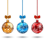 Christmas multicolor balls with bows Royalty Free Stock Photography