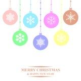 Christmas multicolor balls card Royalty Free Stock Photos