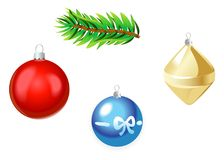 Christmas multicolor toys isolated on white background. Vector Illustration. Christmas multicolor toys isolated on white background. Vector Illustration Stock Photography