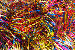 Christmas multicolored tinsel Royalty Free Stock Images