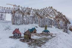Christmas multicolored toy houses, Altai, Russia royalty free stock image