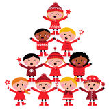 Christmas Multicultural Kids Tree Royalty Free Stock Photos