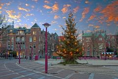 Christmas at the Museumplein in Amsterdam Netherlands. At twilight Stock Photography