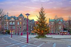 Christmas at the Museumplein in Amsterdam Netherlands. At twilight Royalty Free Stock Photos