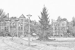 Christmas at the Museumplein in Amsterdam Netherlands at twiligh Royalty Free Stock Photos
