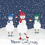 Christmas music card with dance snowman Stock Images