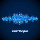 Christmas music waveform made of different scattered snowflakes Royalty Free Stock Image