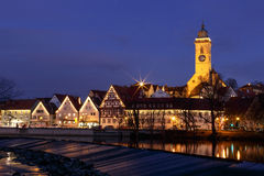 Christmas in Nürtingen. City of Nuertingen decorated withChristmas lights Royalty Free Stock Photography