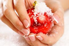 Christmas nail art Royalty Free Stock Photos