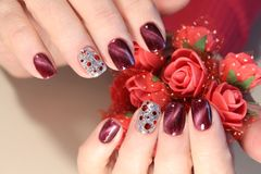 Christmas Nail art manicure royalty free stock photography