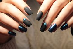 Christmas Nail art manicure. Winter Holiday style bright royalty free stock photo
