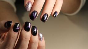 Christmas Nail art manicure. Winter Holiday style bright Royalty Free Stock Photos