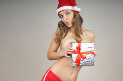 Christmas naked girl  covered  gift Stock Photos
