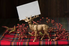 Christmas  name card, on fabric red checkered Royalty Free Stock Photography