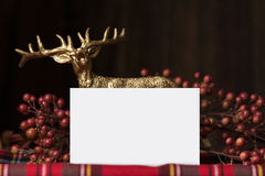 Christmas  name card, on fabric red checkered Stock Images