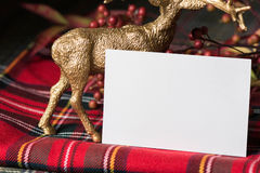 Christmas  name card, on fabric red checkered Stock Photo