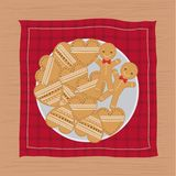 Christmas napkin with dish and cookies shape of heart and gingerbread. Vector illustration stock illustration