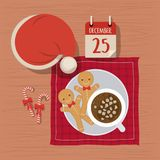 Christmas napkin with dish and gingerbread and candy canes and christmas hat and december twenty five calendar. Vector illustration Royalty Free Stock Image