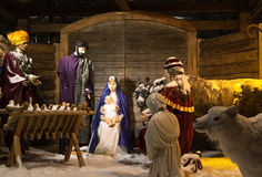 Christmas Nativity. Figurines of Mary, Joseph, and Baby Jesus with the Wise Men and animals royalty free stock images