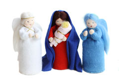 Christmas nativity. Saint Mary, Jesus baby and angels  on white Royalty Free Stock Photography