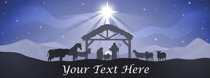 Christmas Nativity Banner. With Mary, Joseph and baby Jesus in the manger with barn animals