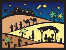 Christmas nativity. Christmas scene with nativity and three kings Stock Photography