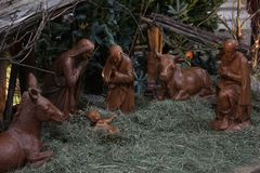 Christmas nativity in the church, Christian popular tradition stock image