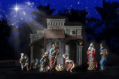 Christmas Nativity Crèche. Christmas nativity scene depicting the birth of the baby Jesus with Joseph, Mary, Shepard boy and three wise men Stock Photos