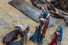 Christmas nativity figurines in detail Royalty Free Stock Photo