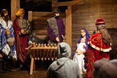 Christmas nativity figurines royalty free stock photos